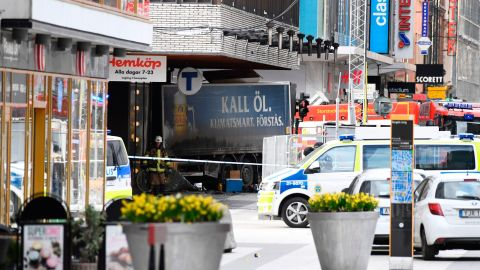 Emergency servies work at the scene where a truck crashed into the Ahlens department store at Drottninggatan in central Stockholm, April 7, 2017.  / AFP PHOTO / Jonathan NACKSTRAND        (Photo credit should read JONATHAN NACKSTRAND/AFP/Getty Images)