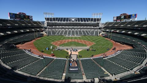 """The 1960s ushered in multipurpose stadiums, which MLB teams commonly shared with NFL teams. The only one still in use is in northern California, where the Oakland-Alameda County Coliseum is used by MLB's Oakland Athletics and the NFL's Oakland -- <a href=""""http://money.cnn.com/2017/03/27/news/nfl-raiders-las-vegas-move/"""" target=""""_blank"""">though soon to be Las Vegas</a> -- Raiders."""