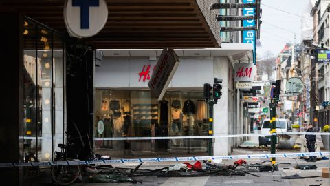 The scene of the attack in Stockholm.