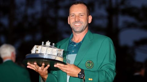 AUGUSTA, GA - APRIL 09:  Sergio Garcia of Spain celebrates with the Masters Trophy during the Green Jacket ceremony after he won in a playoff during the final round of the 2017 Masters Tournament at Augusta National Golf Club on April 9, 2017 in Augusta, Georgia.  (Photo by Andrew Redington/Getty Images)