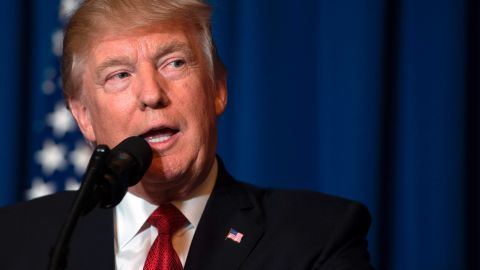 US President Donald Trump delivers a statement on Syria from the Mar-a-Lago estate in West Palm Beach, Florida, on April 6, 2017. Trump ordered a massive military strike against a Syria Thursday in retaliation for a chemical weapons attack they blame on President Bashar al-Assad. A US official said 59 precision guided missiles hit Shayrat Airfield in Syria, where Washington believes Tuesday's deadly attack was launched.  / AFP PHOTO / JIM WATSON        (Photo credit should read JIM WATSON/AFP/Getty Images)