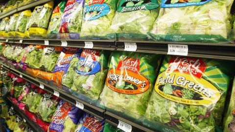 SAN FRANCISCO - JUNE 19:  Fresh Express & Ready Pak Pre-Packaged salad sits on the shelf at a Bell Market grocery store June 19, 2003 in San Francisco, California.  Packaged salad which was near non-existent a decade ago has become the second fastest selling item on grocery shelves behind bottle water, overall the retail market for bagged salad is $2 billion annually.  (Photo by Justin Sullivan/Getty Images)