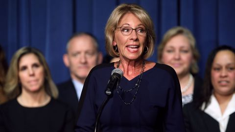 Education Secretary Betsy DeVos delivers remarks to employees on her first day on the job at the Department of Education February 8, 2017 in Washington, DC. DeVos was confirmed by the Senate after Vice President Mike Pence cast a tie-breaking vote Tuesday.