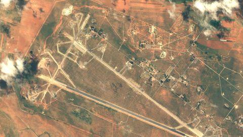 SHAYRAT AIR BASE, SYRIA - APRIL 7, 2016:   DigitalGlobe imagery of the Shayrat Air Base outside of Homs, Syria following the U.S. air strike.   (Photo DigitalGlobe/Getty Images)