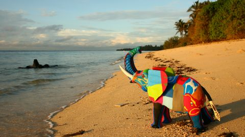 The sculptures are a colorful reminder of the damage we do to our planet. Smith says Ocean Sole aims to produce a million products a year.