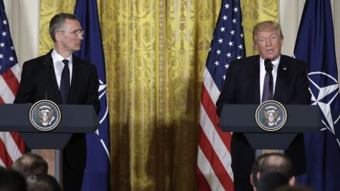 President Donald Trump speaks during a news conference with NATO Secretary General Jens Stoltenberg in the East Room of the White House in Washington, Wednesday, April 12, 2017.