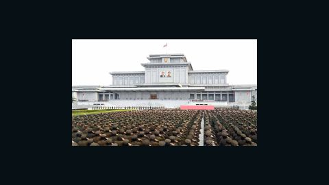 Members of the Korean People's Army (KPA) attend a ceremony at Kumsusan Palace of the Sun on Monday to mark Day of the Sun.