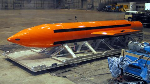 030311-D-9085M-007A Massive Ordnance Air Blast (MOAB) weapon is prepared for testing at the Eglin Air Force Armament Center on March 11, 2003.  The MOAB is a precision-guided munition weighing 21,500 pounds and will be dropped from a C-130 Hercules aircraft for the test.  It will be the largest non-nuclear conventional weapon in existence.  The MOAB is an Air Force Research Laboratory technology project that began in fiscal year 2002 and is to be completed this year.  DoD photo.  (Released)