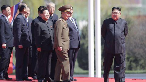 North Korean leader Kim Jong Un is seen on stage.