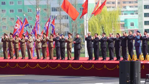 North Korean leader Kim Jong Un appears at a ceremony to formally open a housing development in Pyongyang on April 13. The project was rushed to completion in under a year, North Korean officials say.