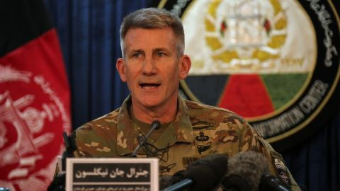 """The top US commander in Afghanistan John Nicholson speaks at a press conference in Kabul on April 14, 2017. Nicholson insisted it was the """"right weapon against the right target"""". The US military's largest non-nuclear bomb killed at least 36 militants as it destroyed a deep tunnel complex of the Islamic State group, Afghan officials said April 14, ruling out any civilian casualties. / AFP PHOTO / AREF KARIMI        (Photo credit should read AREF KARIMI/AFP/Getty Images)"""