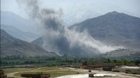 In this photograph taken on April 11, 2017, smoke rises after an air strike by US aircraft on positions during an ongoing an operation against Islamic State militants in the Achin district of Afghanistan's Nangarhar province.