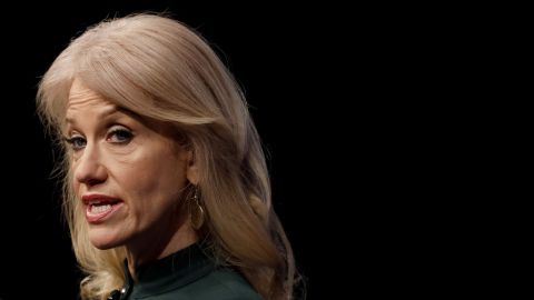 """WASHINGTON, DC - APRIL 12: Kellyanne Conway, Counselor to the President, speaks at the Newseum during their """"The President and The Press, The First Amendment in the First 100 Days"""" event April 12, 2017 in Washington, DC. Conway, formerly President Trump's campaign manager, is one of the administration's main surrogates appearing often on television. (Photo by Aaron P. Bernstein/Getty Images)"""