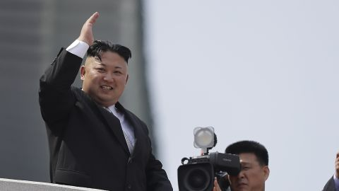 North Korean leader Kim Jong Un waves during a military parade on Saturday, April 15, 2017, in Pyongyang to celebrate the 105th anniversary of Kim Il Sung's birth, the country's late founder and grandfather of current ruler Kim Jong Un.