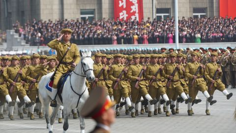 """North Korean soldiers march on April 15, <a href=""""http://edition.cnn.com/2017/04/14/asia/north-korea-day-of-the-sun/"""" target=""""_blank"""">as the nation marks the birth of its founder, Kim Il Sung,</a> who is also the grandfather of current leader Kim Jong Un."""