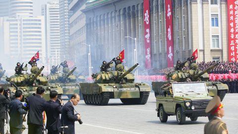 Tanks roll through Kim Il Sung Square on April 15.