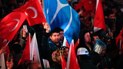 Erdogan's supporters celebrate the referendum win in Ankara.