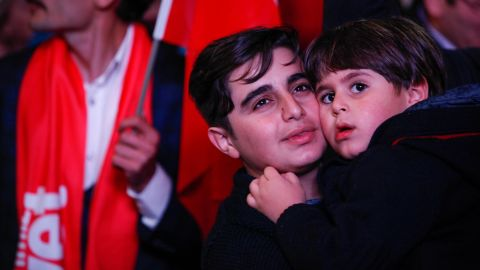 From celebration rally in Ankara tonight, moments after the preliminary results of the Turkish referendum were announced.