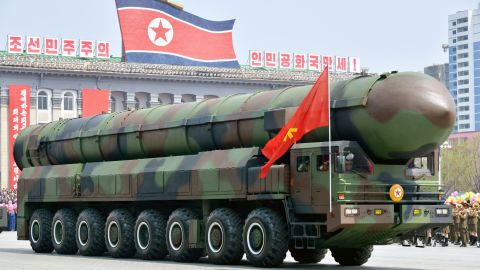 A vehicle equipped with a launch tube possibly for new intercontinental ballistic missiles is seen during a military parade at Kim Il Sung Square in Pyongyang on April 15, 2017.