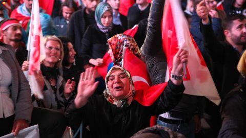 Supporters of President Erdogan celebrate the result.