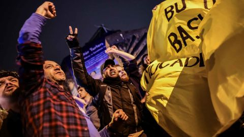 """""""No"""" supporters gather in Istanbul to protest the result."""
