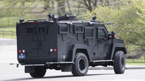 """An armor police vehicle drives through Fairmount park in Philadelphia, Monday, April 17, 2017. Authorities in several states are on the lookout for a man police say shot a Cleveland retiree collecting aluminum cans and then posted video of the apparently random killing on Facebook. The suspect is identified as Steve Stephens, a 37-year-old job counselor. Police in Philadelphia say they have """"no indication"""" that the suspect in an apparently random killing in Cleveland is in Philadelphia. (AP Photo/Matt Rourke)"""