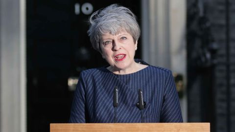 British Prime Minister Theresa May speaks to the media outside 10 Downing Street in central London on April 18, 2017.British Prime Minister Theresa May has called for an early general election. / AFP PHOTO / Daniel LEAL-OLIVAS        (Photo credit should read DANIEL LEAL-OLIVAS/AFP/Getty Images)