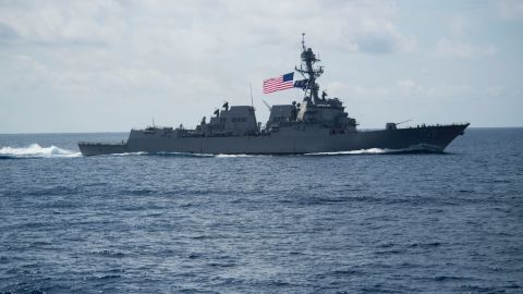 170411-N-PP996-031  SOUTH CHINA SEA (April 11, 2017) The Arleigh Burke-class guided-missile destroyer USS Wayne E. Meyer (DDG 108) transits the South China Sea. Wayne E. Meyer is on a scheduled western Pacific deployment with the Carl Vinson Carrier Strike Group as part of the U.S. Pacific Fleet-led initiative to extend the command and control functions of U.S. 3rd Fleet. U.S. Navy aircraft carrier strike groups have patrolled the Indo-Asia-Pacific regularly and routinely for more than 70 years. (U.S. Navy photo by Mass Communication Specialist 3rd Class Danny Kelley/Released)
