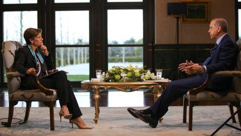 CNN's Becky Anderson interviewed Erdogan in Ankara on Tuesday.