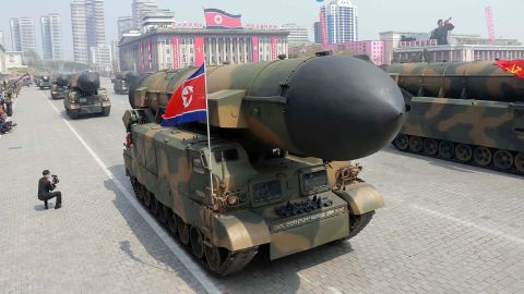 On April 16, 2017 shows Korean People's ballistic missiles being displayed through Kim Il-Sung square during a military parade in Pyongyang marking the 105th anniversary of the birth of late North Korean leader Kim Il-Sung.