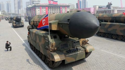 On April 16, 2017, North Korea parades ballistic missiles  through Kim Il Sung Square during a  parade in Pyongyang.