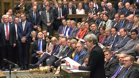 British Prime Minister Theresa May speaks during Prime Ministers questions in the House of Commons in London on April 19, 2017.