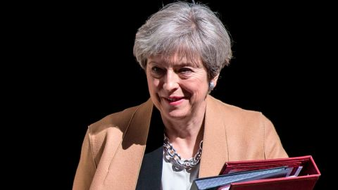 British Prime Minister Theresa May leaves 10 Downing Street in central London on April 19, 2017 ahead of the weekly Prime Minister's Questions session in the House of Commons. British Prime Minister Theresa May called on April 18 for a snap election on June 8, in a shock move as she seeks to bolster her position before tough talks on leaving the EU. MPs are set to vote on the motion following Prime Minister's Questions in the House of Commons. / AFP PHOTO / CHRIS J RATCLIFFE        (Photo credit should read CHRIS J RATCLIFFE/AFP/Getty Images)