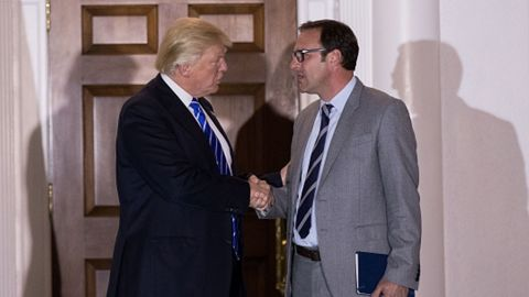 BEDMINSTER TOWNSHIP, NJ - NOVEMBER 19: President-elect Donald Trump shakes hands with Todd Ricketts, co-owner of the Chicago Cubs, after their meeting at Trump International Golf Club, November 19, 2016 in Bedminster Township, New Jersey. Trump and his transition team are in the process of filling cabinet and other high level positions for the new administration.