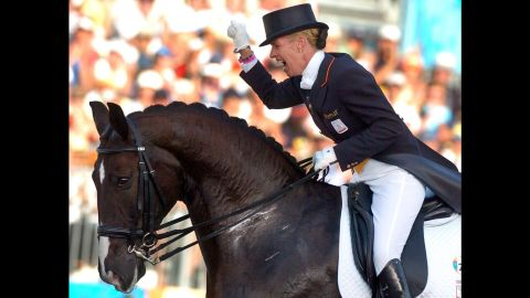 """<a href=""""https://www.anky.com/en/"""" target=""""_blank"""" target=""""_blank"""">Anky van Grunsven</a>, an equestrian from the Netherlands, has won three gold medals at the Olympic Games in Sydney, Athens and Hong Kong. During the 2004 Games, she competed while five months into her pregnancy. Victory was hers: She won gold."""