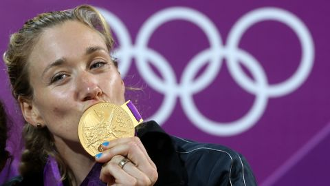 """<a href=""""http://www.teamusa.org/usa-volleyball/athletes/Kerri-Walsh"""" target=""""_blank"""" target=""""_blank"""">Kerri Walsh Jennings</a>, a volleyball athlete, won her third gold medal at the 2012 Games in London. Only later did she realize she had competed -- and won the top prize -- while pregnant."""