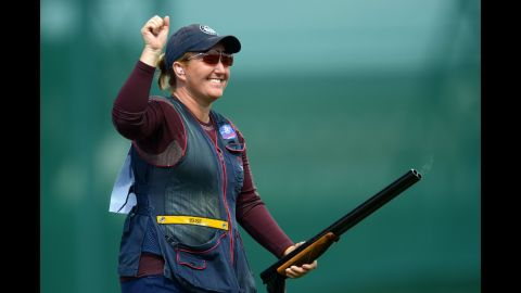 """<a href=""""http://www.usashooting.org/12-the-team/usashootingteam/nationalteam/nationalshotgunteam/kimrhode"""" target=""""_blank"""" target=""""_blank"""">Kim Rhode</a>, a member of the U.S. shooting team, has won six medals, including three golds, in six consecutive Olympic games. Like Walsh, she discovered weeks after the London Olympics that she was pregnant while competing. And also like Walsh, she won the top prize."""