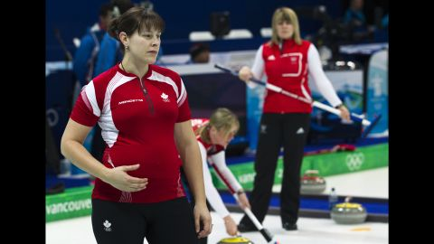 """Canadian curler <a href=""""http://olympic.ca/team-canada/kristie-moore/"""" target=""""_blank"""" target=""""_blank"""">Kristie Moore</a> competed while five-months pregnant in the 2010 Games. She earned a silver medal in the Vancouver Games."""