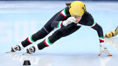 """Short-track speed-skater <a href=""""https://www.olympic.org/martina-valcepina"""" target=""""_blank"""" target=""""_blank"""">Martina Valcepina</a> represented Italy at the 2010 Olympic games in Vancouver at age 17 and returned to the Sochi Games in 2014. During the Sochi Games, she was carrying not one baby, but two. One month into her twin pregnancy, she brought home a bronze medal from Russia."""