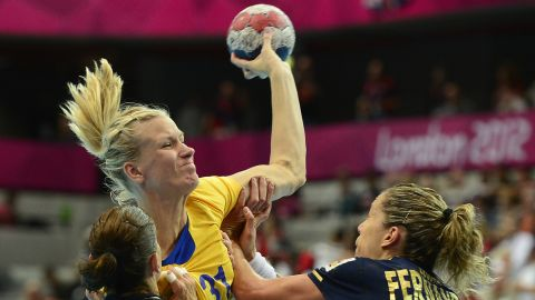 """Swedish handball player<a href=""""http://www.eurohandball.com/article/017823/Johansson+looking+forward+to+international+comeback"""" target=""""_blank"""" target=""""_blank""""> Anna-Maria Johansson</a> competed in the London Games in 2012 while three months pregnant. Following her intense participation in the games, she took a year off to become a mom and then returned to her sport."""