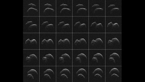 Asteroid 2014 JO25 was imaged by radar from NASA's Goldstone Deep Space Communications Complex in California one day before its closest approach to Earth. A grid composed of 30 images shows the two-lobed asteroid in different rotations. The space rock passed Earth on April 19, 2017, at a distance of 1.1 million miles (1.8 million kilometers).