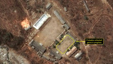 """A satellite image showing a """"probable volleyball game"""" seen at the main administrative area of North Korea's Punggye-ri nuclear test site."""