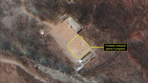 """38 North says this images show a """"probable volleyball game seen at the command center support area"""" at the North Korea nuclear test site."""
