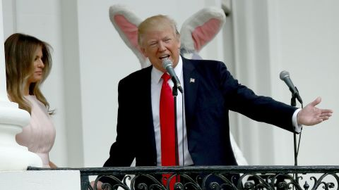 """Trump and the first lady welcome guests to <a href=""""http://www.cnn.com/2017/04/17/politics/white-house-easter-egg-roll/"""" target=""""_blank"""">the White House Easter Egg Roll</a> on Monday, April 17. The egg-rolling tradition began in the 1870s."""