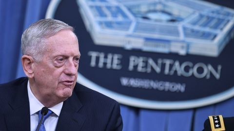 """US Secretary of Defense James Mattis takes part in a briefing at the Pentagon in Washington, DC on April 11, 2017. The United States has """"no doubt"""" that the regime of Syrian President Bashar al-Assad was responsible for last week's chemical attack on a rebel-held town that left dozens dead, Pentagon chief Jim Mattis said Tuesday. Mattis told reporters that Washington's military strategy in Syria had not changed even after its retaliatory missile strikes on a Syrian air base, noting """"our priority remains the defeat"""" of the Islamic State group.  / AFP PHOTO / Mandel NGAN        (Photo credit should read MANDEL NGAN/AFP/Getty Images)"""