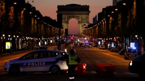 """Police officers block access to the Champs-Elysées in Paris <a href=""""http://www.cnn.com/2017/04/20/europe/champs-elyses-in-paris-closed/index.html"""">after a shooting</a> on Thursday, April 20. One police officer and an attacker were killed, according to CNN affiliate BFMTV and the French Interior Ministry."""