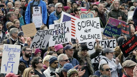 Members of the scientific community, environmental advocates, and supporters demonstrate Sunday, Feb. 19, 2017, in Boston, to call attention to what they say are the increasing threats to science and scientific research under the administration of President Donald Trump. (AP Photo/Steven Senne)