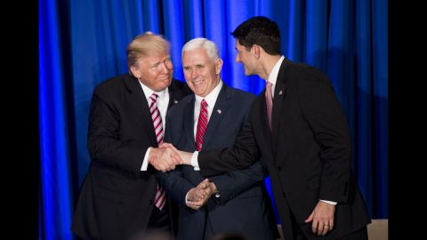 """Trump and House Speaker Paul Ryan shake hands in front of Vice President Pence during a luncheon with GOP lawmakers on January 26. Trump <a href=""""http://www.cnn.com/2017/01/26/politics/donald-trump-hill-gop-retreat/"""" target=""""_blank"""">previewed an ambitious governing agenda</a> during his speech. """"This Congress is going to be the busiest Congress we've had in decades, maybe ever,"""" he said. """"This is our chance to achieve great and lasting change for our beloved nation."""""""