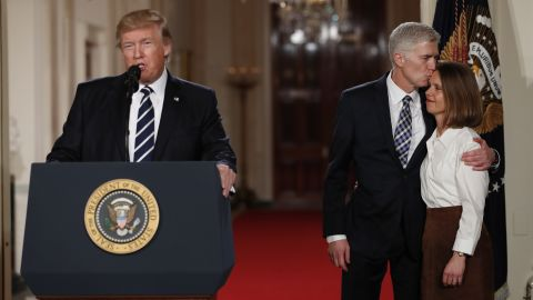 """Trump speaks in the East Room of the White House as he announces Neil Gorsuch <a href=""""http://www.cnn.com/2017/01/31/politics/donald-trump-supreme-court-nominee/"""" target=""""_blank"""">as his Supreme Court nominee</a> on Tuesday, January 31. Gorsuch -- at right with his wife, Louise -- would replace Justice Antonin Scalia, who died last year."""