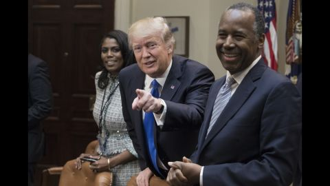 """Trump <a href=""""http://www.cnn.com/2017/02/01/politics/african-american-meeting-donald-trump-frederick-douglass/"""" target=""""_blank"""">met with several African-American leaders</a> for a listening session to kick off Black History Month on Wednesday, February 1. Trump was seated between Ben Carson, his nominee to head the Department of Housing and Urban Development, and Omarosa Manigault, a former """"Apprentice"""" contestant who is now part of the administration."""